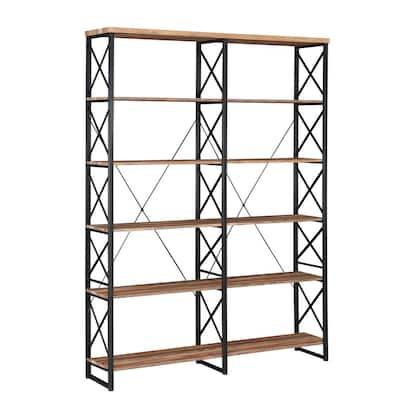 80 in. Brown Vintage Wood 6-Shelf Etagere Bookcase with Black Metal Frame