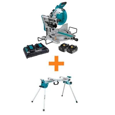18V X2 (36V) LXT Brushless 10 in. Dual-Bevel Sliding Compound Miter Saw Kit (5.0Ah) with bonus Folding Miter Saw Stand