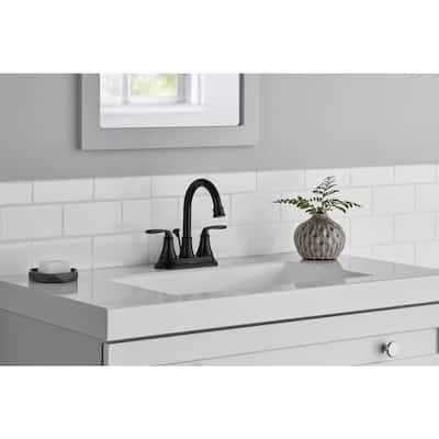 Sadira 4 in. Centerset 2-Handle High-Arc Bathroom Faucet in Matte Black