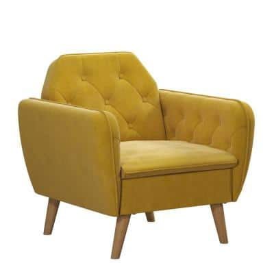 Teresa Mustard Yellow Velvet Memory Foam Accent Arm Chair