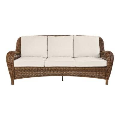 Beacon Park Brown Wicker Outdoor Patio Sofa with CushionGuard Almond Tan Cushions