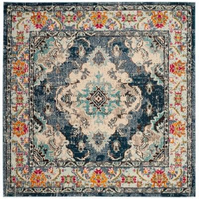 Monaco Navy/Light Blue 9 ft. x 9 ft. Square Area Rug