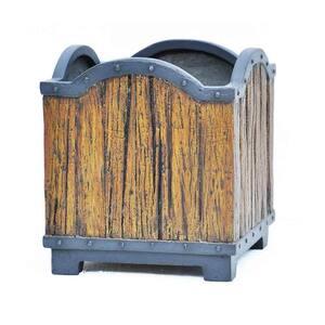 14.25 in. sq. Black Composite Wood/Metal Look Planter