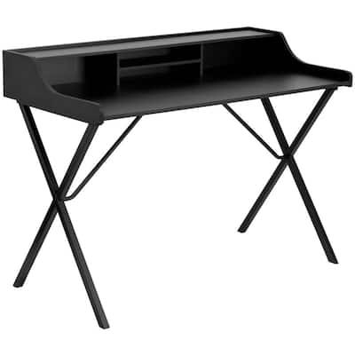 46.8 in. Rectangular Black Writing Desks with Built-In Storage