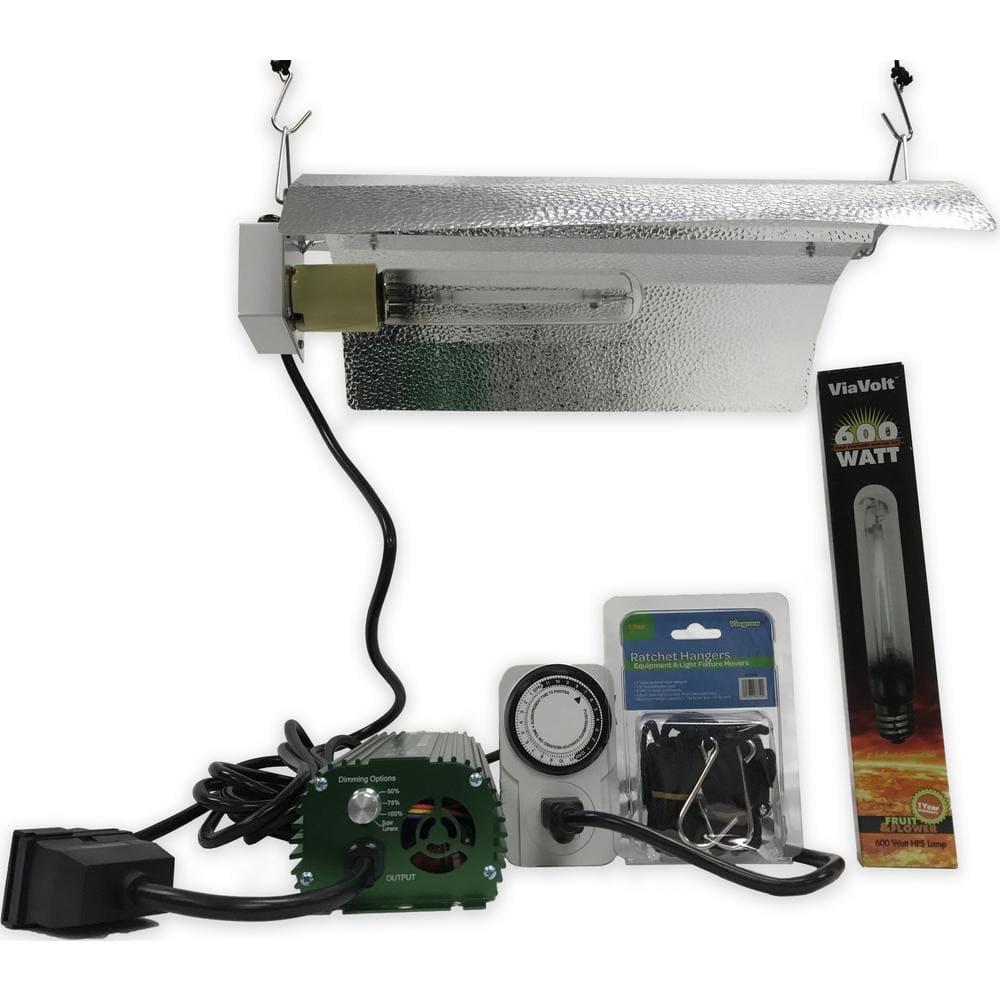 Viavolt 1 Light 600 Watt Hps White Grow Light System With Timer Remote Ballast And Reflector V600ecbw The Home Depot