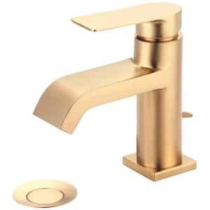 i4 Single Hole Single-Handle Bathroom Faucet with Brass Drain and Deck Plate in Brushed Gold