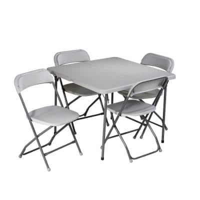 5-Piece Grey Folding Table Set
