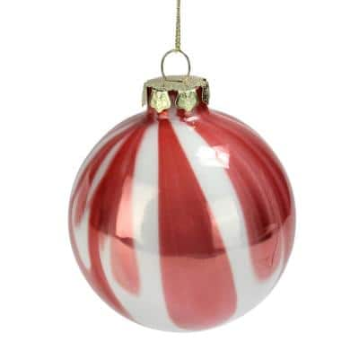 3 in. Pink and White Marbled Glass Ball Christmas Ornament