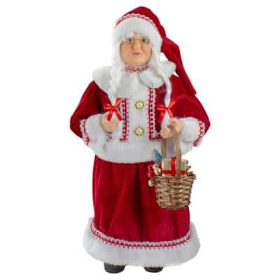18 in. Standing Mrs. Clause Christmas Figure with a Basket of Gifts
