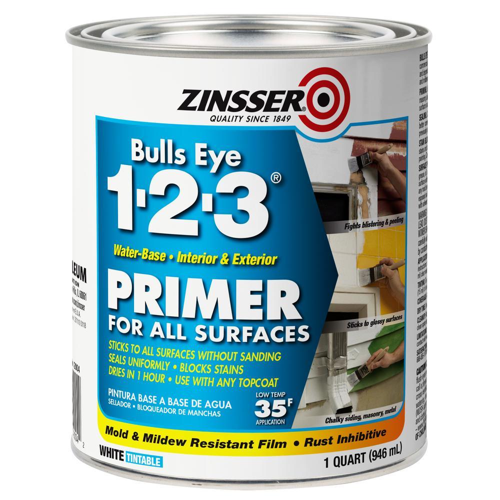 Bulls Eye 1-2-3 1 qt. White Water-Based Interior/Exterior Primer and Sealer