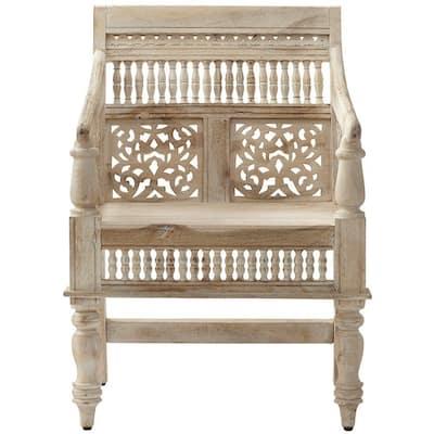 Maharaja Sandblasted White Wood Hand-Carved Arm Chair