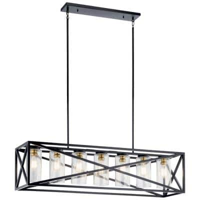 Moorgate 7-Light Black Linear Chandelier with Clear Glass Shade