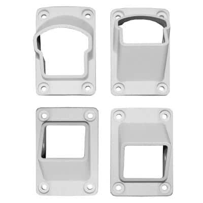 Stanford Textured White Aluminum Stair Railing Bracket Kit (4-Piece)