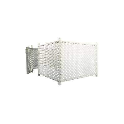 3 ft. x 32 ft. White Plastic Lattice Fence Panel/Enclosure Kit with Gate - Soft Surface (Anchor Stakes)