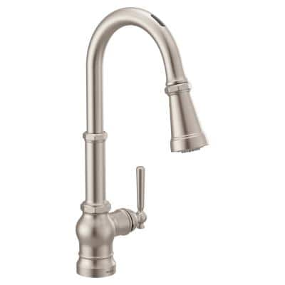 U Paterson Single-Handle Pull-Down Sprayer Smart Kitchen Faucet with Voice Control in Spot Resist Stainless