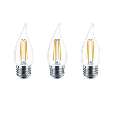 40-Watt Equivalent B11 Dimmable Edison LED Candle Light Bulb Glass Bent Tip Medium Base Daylight (5000K) (3-Pack)