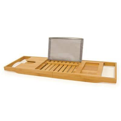 Bamboo Bathtub Caddy with Wine Glass and Phone Holder
