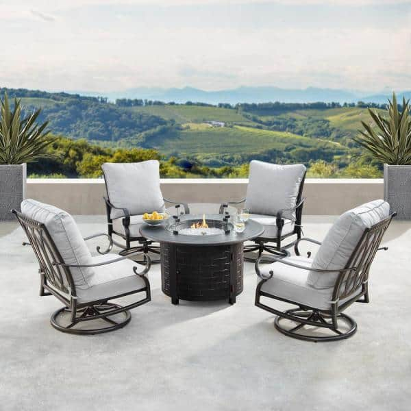 Oakland Living Rica Luxurious Antique Copper 5 Piece Aluminum Patio Fire Pit Deep Seating Set With Light Grey Cushions Hdrica Rico 5pc Ac The Home Depot