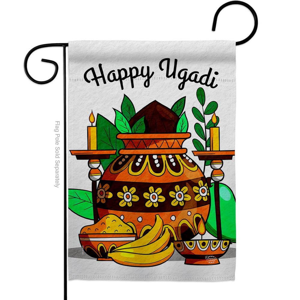 Ornament Collection 13 In X 18 5 In Celebrate Ugadi Garden Flag Double Sided Religious Decorative Vertical Flags Hdg192506 Bo The Home Depot