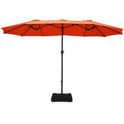 15 ft. Double Sided Outdoor Market Patio Umbrella in Orange