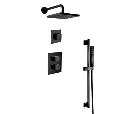 Quadro 3-Spray Square Shower Head and Wall Bar Shower Kit with Hand Shower in Matte Black