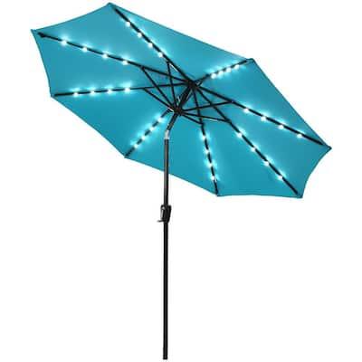 9 ft. Iron Market Solar Tilt Patio Umbrella in Turquoise