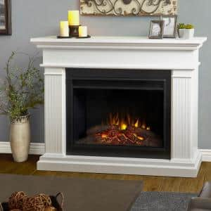 Centennial Grand 55.5 in. Freestanding Wooden Electric Fireplace in White