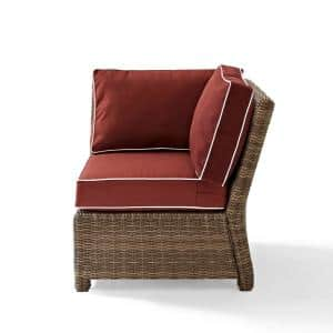 Bradenton Wicker Corner Outdoor Sectional Chair With Sangria Cushions