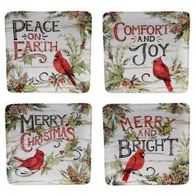 8.5 in. Evergreen Christmas Multicolored Earthenware Dessert Plate (Set of 4)