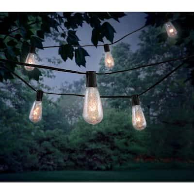 Outdoor/Indoor 10 ft. Plug-In Incandescent ST40 Crackle Bulb String Light (10-Heads)