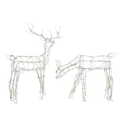 48 in. and 36 in. Pre-Lit LED White Wire Deer and Doe Set