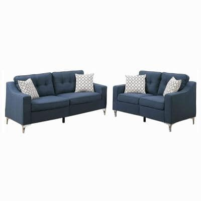 2-Piece Navy Blue Bobkona Masaccio Polyfiber Sofa and Loveseat Set