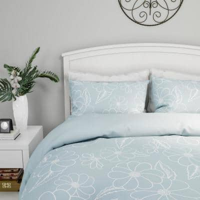 3-Piece Jardin Floral Design Hypoallergenic Comforter Set