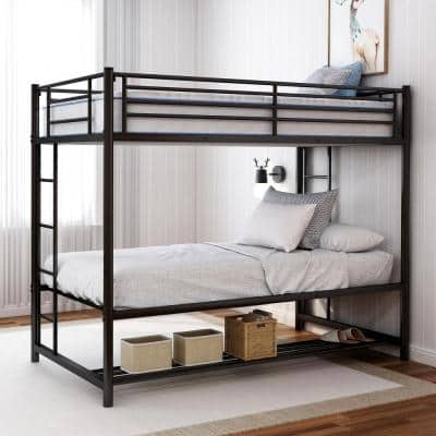 Black Twin Over Twin Bunk Bed with Storage Shelf