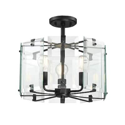 Decorative Interior 3-Light 15 in. Black Semi Flushmount