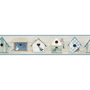 Cottage Chic Birdhouses Blue Blue Wallpaper Border