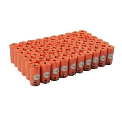 Large Orange Unscented Earth-Friendly Dog Poop Bags (1080-Count, 60-Rolls)