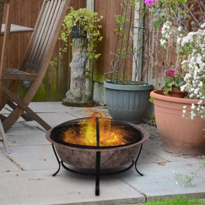 """35"""" W x 22.75"""" H Copper/Black Steel Round Cauldron Wood Fire Pit Bowl with Mesh Screen Enclosure for Ember Protection"""