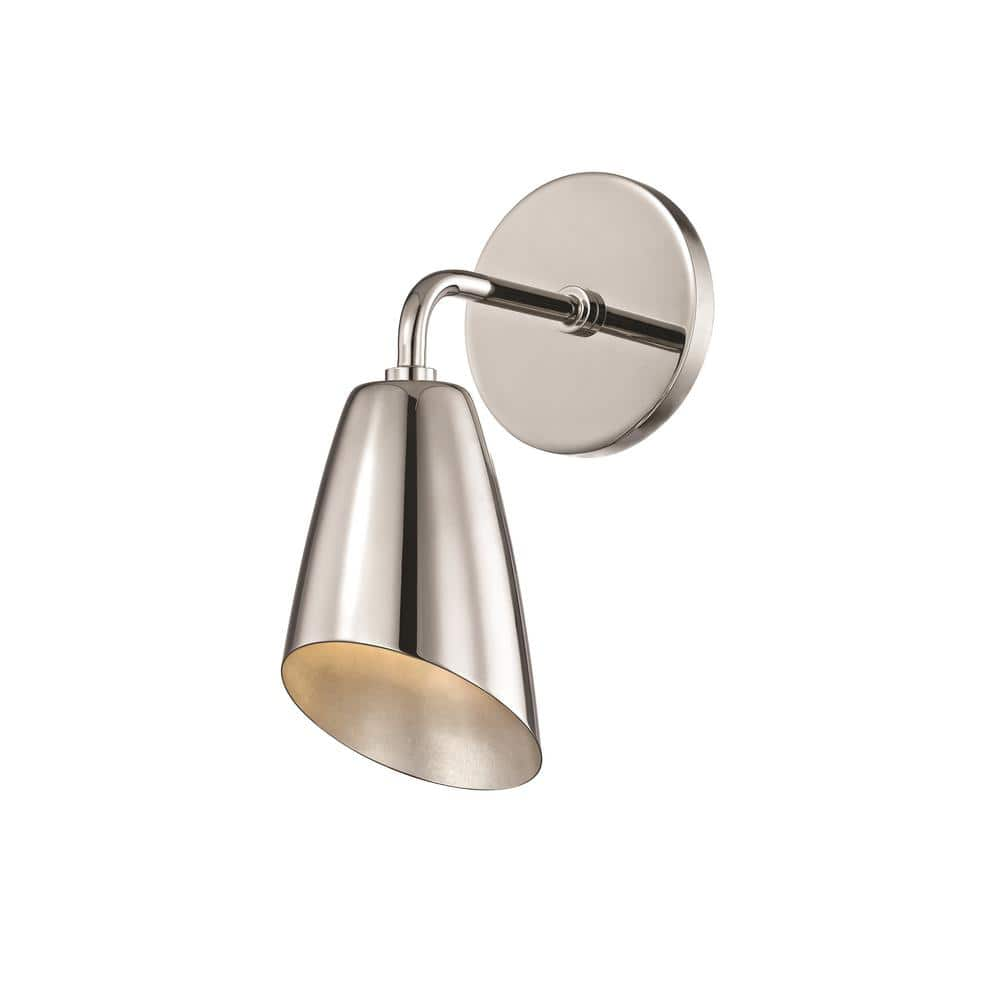 Mitzi By Hudson Valley Lighting Kai 1 Light Polished Nickel 10 25 In H Led Wall Sconce H115101 Pn The Home Depot
