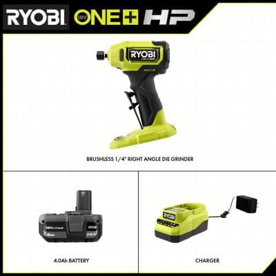 """ONE+ HP 18V Brushless Cordless Compact 1/4"""" in. Right Angle Grinder Kit with (1) 4.0 Ah Battery and Charger"""