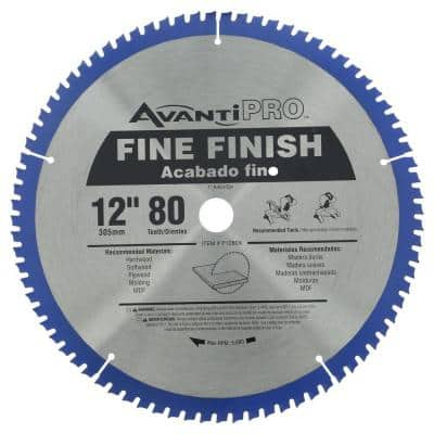 12 in. x 80-Tooth Fine Finish Circular Saw Blade (2-Pack)