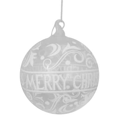 6 in. Clear Glass Merry Christmas Glass Ball Ornament