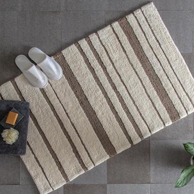 Aldersbrook Beige 30 in. x 50 in. Geometric Cotton Bath Mat
