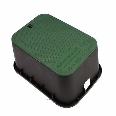 12 in. x 17 in. x 12 in. Deep Rectangular Valve Box in Black Body Green Lid