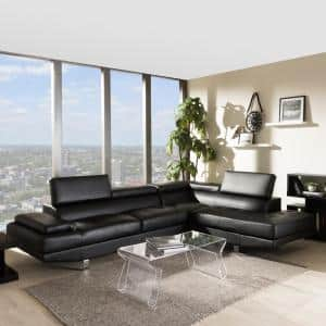Selma Black Faux Leather 4-Seater L-Shaped Right-Facing Chaise Sectional Sofa with Chrome Legs