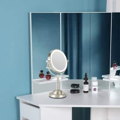 8.7 in. x 14 in. Double-Sided Glam Lighted Magnifying Makeup Mirror in Brushed Nickel