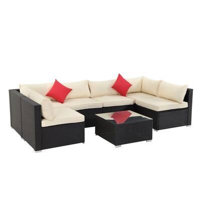 CASAINC 7-pc PE Wicker Outdoor Patio Conversation Sofa with Beige Foam Cushions
