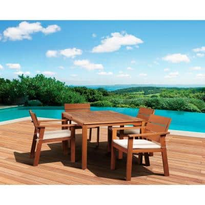 Nelson 5-Piece Rectangular Patio Dining Set with Striped Cushions