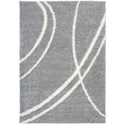 Soft Contemporary Stripe Cozy Shag Light Gray 9 ft. x 12 ft. Indoor Area Rug