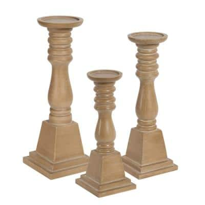Comstock Natural Wood Candle Holder (Set of 3)